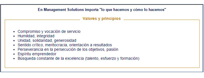 Valores de Management Solutions