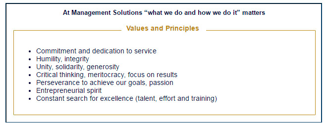 Management Solutions values